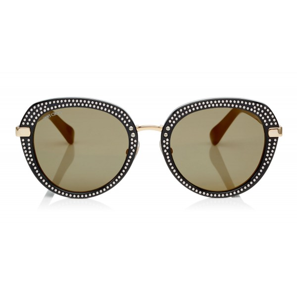 Jimmy Choo - Mori - Black Rounded Acetate Sunglasses with Stud Detailing - Sunglasses - Jimmy Choo Eyewear