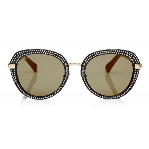 Jimmy Choo - Mori - Occhiali da Sole Rotondi in Acetato Nero con Borchiatura - Occhiali da Sole - Jimmy Choo Eyewear