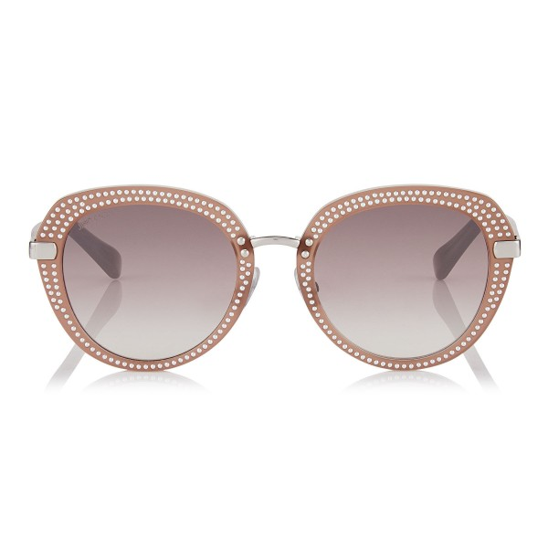 Jimmy Choo - Mori - Opal Nude Rounded Acetate Sunglasses with Stud Detailing - Sunglasses - Jimmy Choo Eyewear