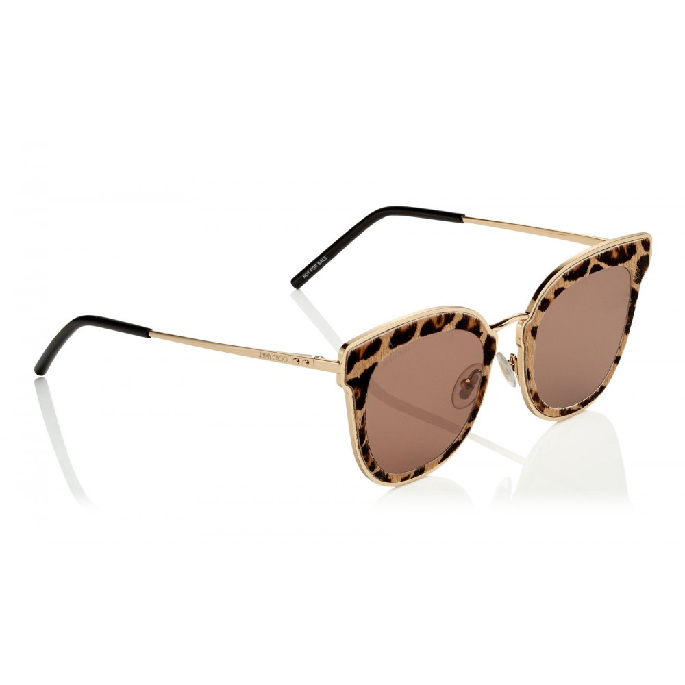 5ee8e20d60af ... Jimmy Choo - Nile - Rose Gold Metal Cat-Eye Sunglasses with Leopard  Leather Detailing ...