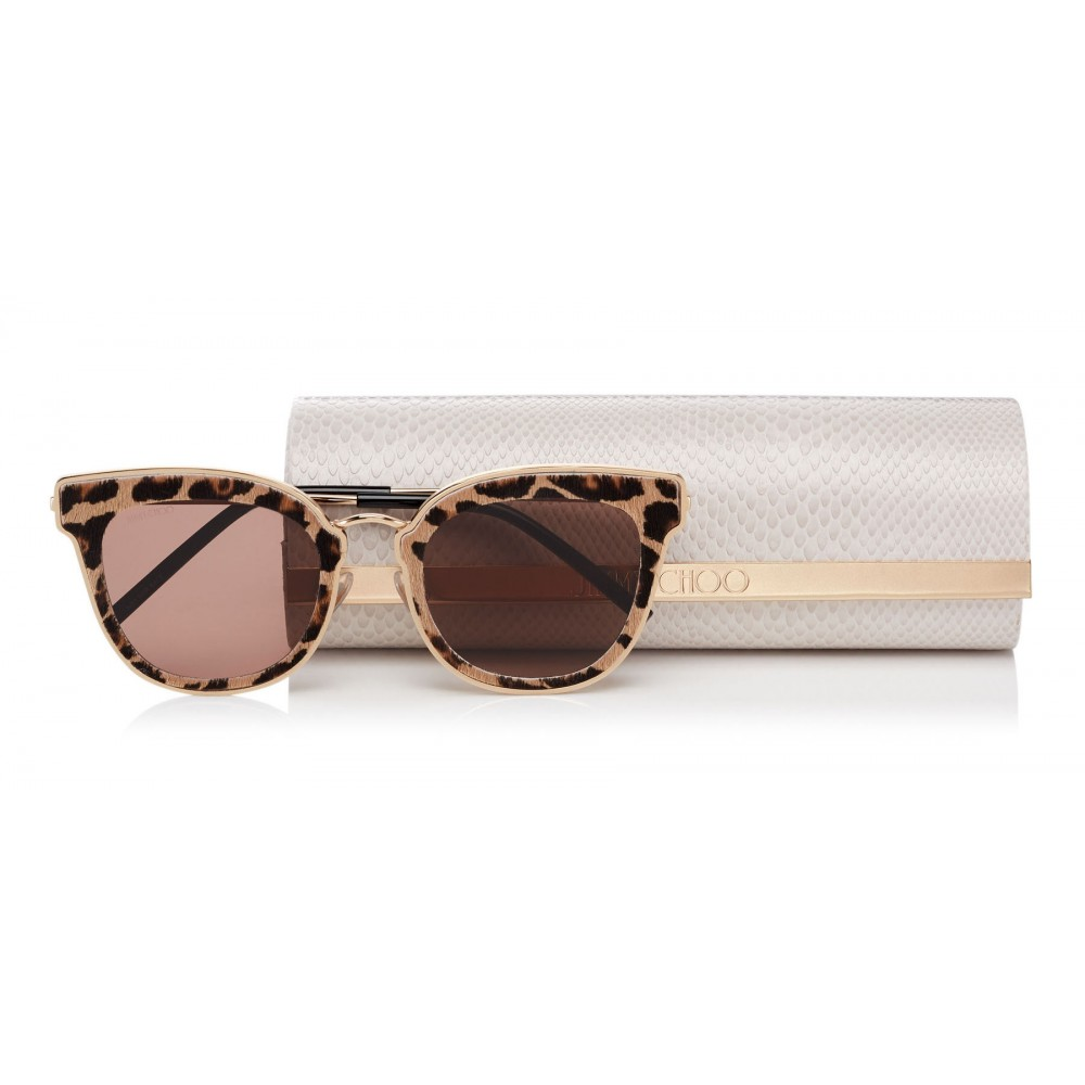 f6a83f6e1df1 ... Jimmy Choo - Nile - Rose Gold Metal Cat-Eye Sunglasses with Leopard  Leather Detailing