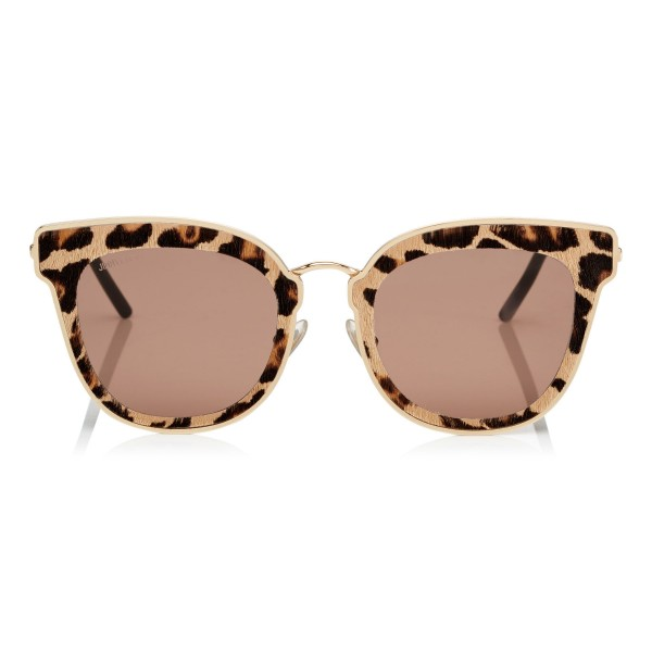 Jimmy Choo - Nile - Rose Gold Metal Cat-Eye Sunglasses with Leopard Leather Detailing - Sunglasses - Jimmy Choo Eyewear