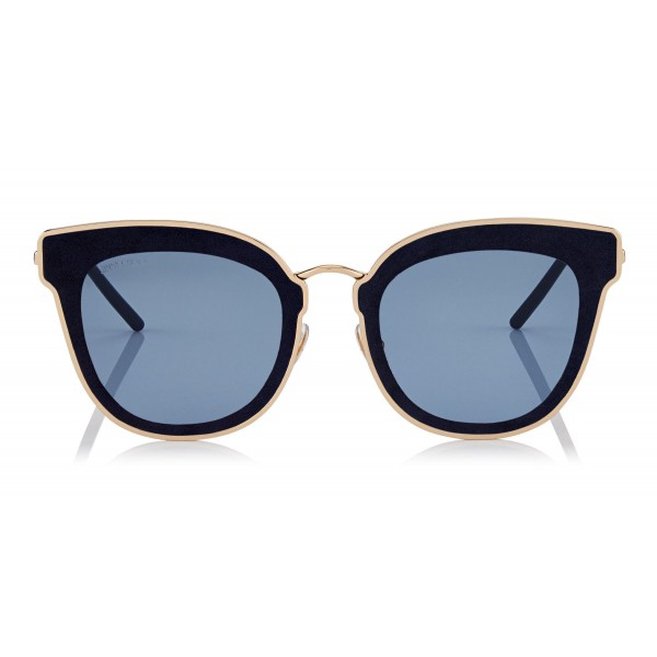 Jimmy Choo - Nile - Rose Gold Metal Cat-Eye Sunglasses with Blue Leather Detailing - Sunglasses - Jimmy Choo Eyewear