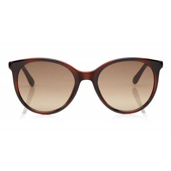 Jimmy Choo - Erie - Brown Havana Oversized Sunglasses with Metal Plexi Glitter - Sunglasses - Jimmy Choo Eyewear