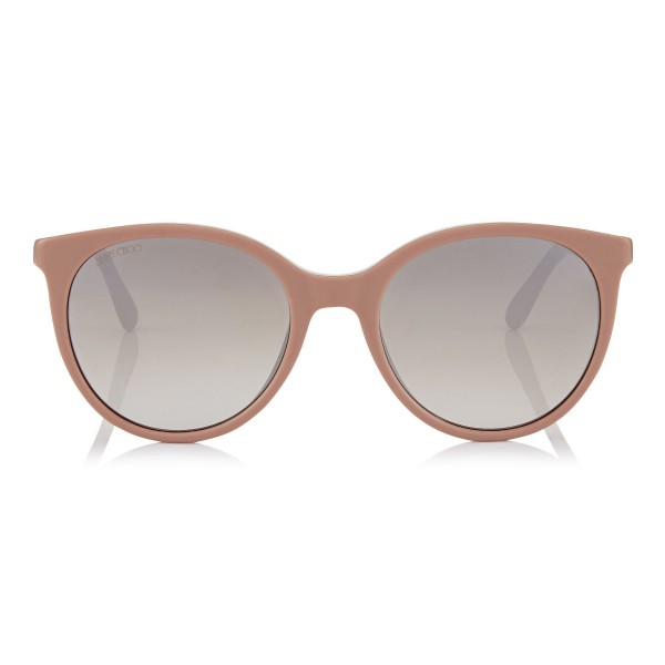 Jimmy Choo - Erie - Nude Oversized Sunglasses with Metal Plexi Glitter - Sunglasses - Jimmy Choo Eyewear