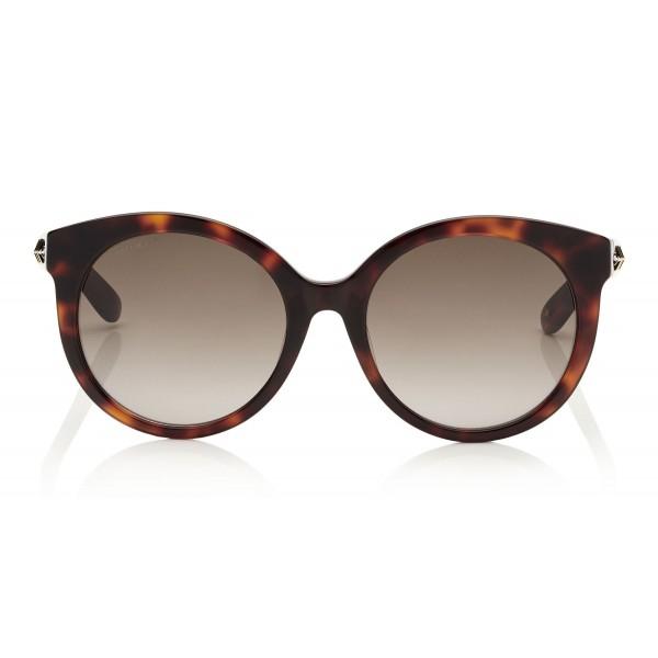 Jimmy Choo - Astar - Dark Havana Oversized Sunglasses with Star Stud Detailing - Sunglasses - Jimmy Choo Eyewear