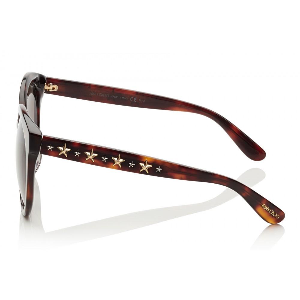 dcb8b4ad96 ... Jimmy Choo - Astar - Dark Havana Oversized Sunglasses with Star Stud  Detailing - Sunglasses ...