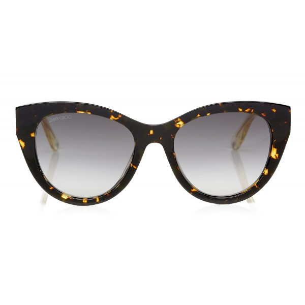 Jimmy Choo - Chana - Havana Acetate Cat-Eye Sunglasses with Rose Gold Chain Metal Detailing - Sunglasses - Jimmy Choo Eyewear