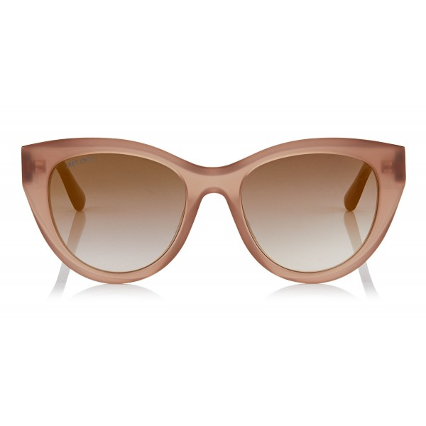 Jimmy Choo - Chana - Opal Nude Cat-Eye Sunglasses with Copper Gold Chain Detailing - Sunglasses - Jimmy Choo Eyewear