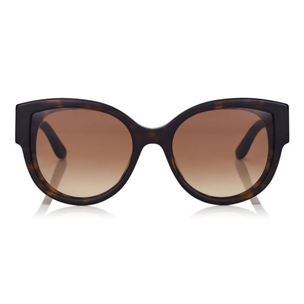 Jimmy Choo - Pollie - Dark Havana Cat-Eye Sunglasses with Star Detailing - Sunglasses - Jimmy Choo Eyewear
