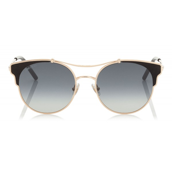 a0705eed844f Jimmy Choo - Lue - Copper Gold Metal Cat-Eye Sunglasses with Black Leather  Detailing