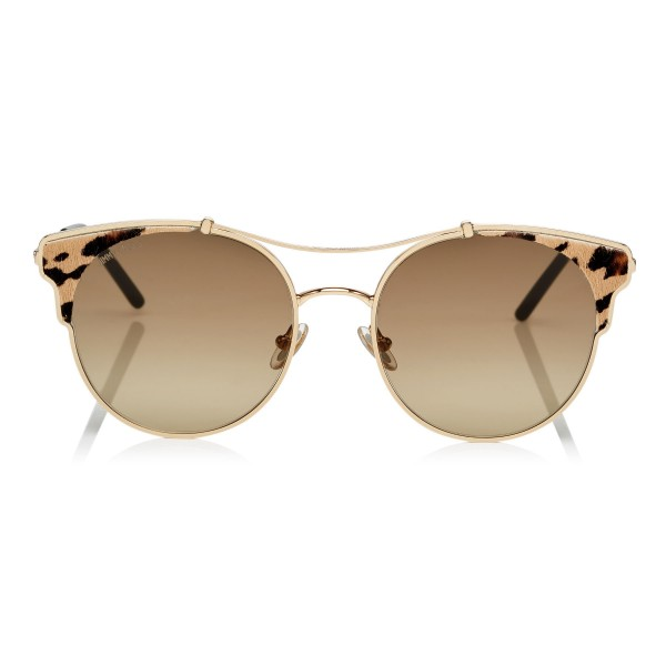 Jimmy Choo - Lue - Rose Gold Metal Cat-Eye Sunglasses with Leopard Cavallino Leather Detailing - Sunglasses - Jimmy Choo Eyewear