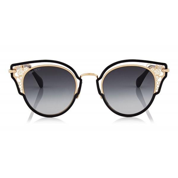 Jimmy Choo - Dhelia - Black and Rose Gold Metal Sunglasses - Sunglasses - Jimmy Choo Eyewear