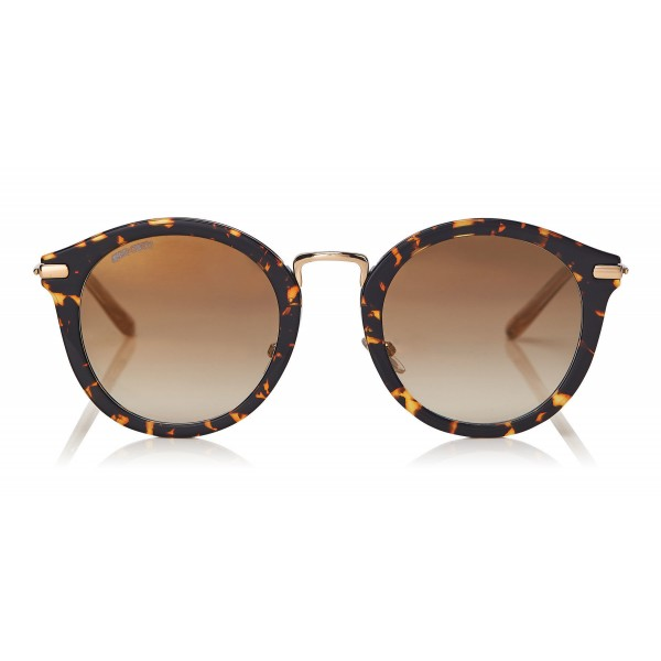 57a5e75c7fed Jimmy Choo - Bobby - Dark Havana Round Frame Sunglasses with Gold Mirror  Lenses - Jimmy