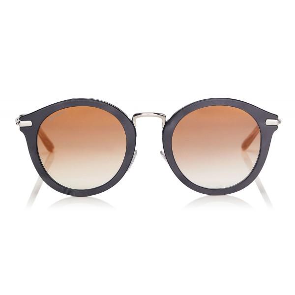 Jimmy Choo - Bobby - Black Pearl Round Frame Sunglasses with Perforated Stars - Jimmy Choo Eyewear