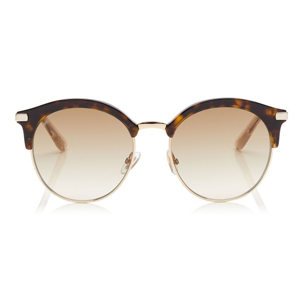 Jimmy Choo - Hally - Dark Havana Round Frame Sunglasses with Perforated Star Detailing - Jimmy Choo Eyewear