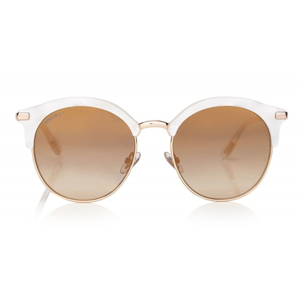 Jimmy Choo - Hally - White Round Frame Sunglasses with Perforated Star Detailing - Jimmy Choo Eyewear