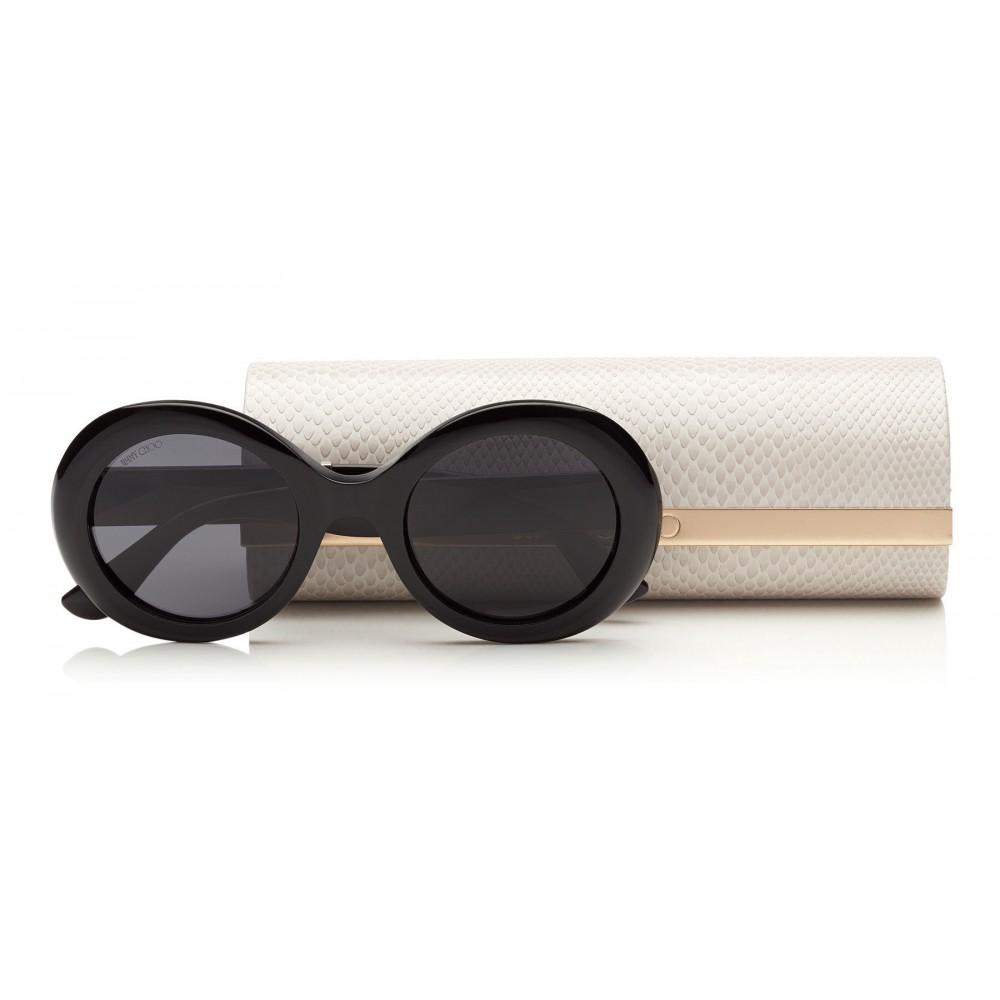 653549c09af1 ... Jimmy Choo - Wendy - Black Round Framed Sunglasses with Lurex Detailing  - Sunglasses - Jimmy