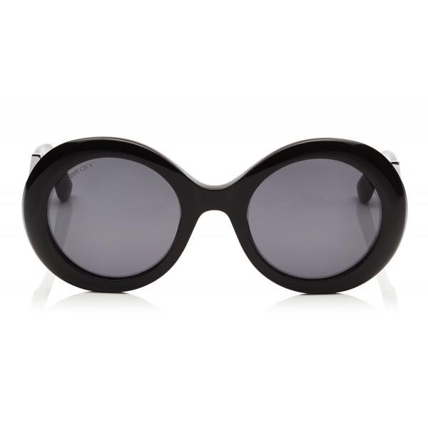 1e7d21ecf8b8 Jimmy Choo - Wendy - Black Round Framed Sunglasses with Lurex Detailing -  Sunglasses - Jimmy