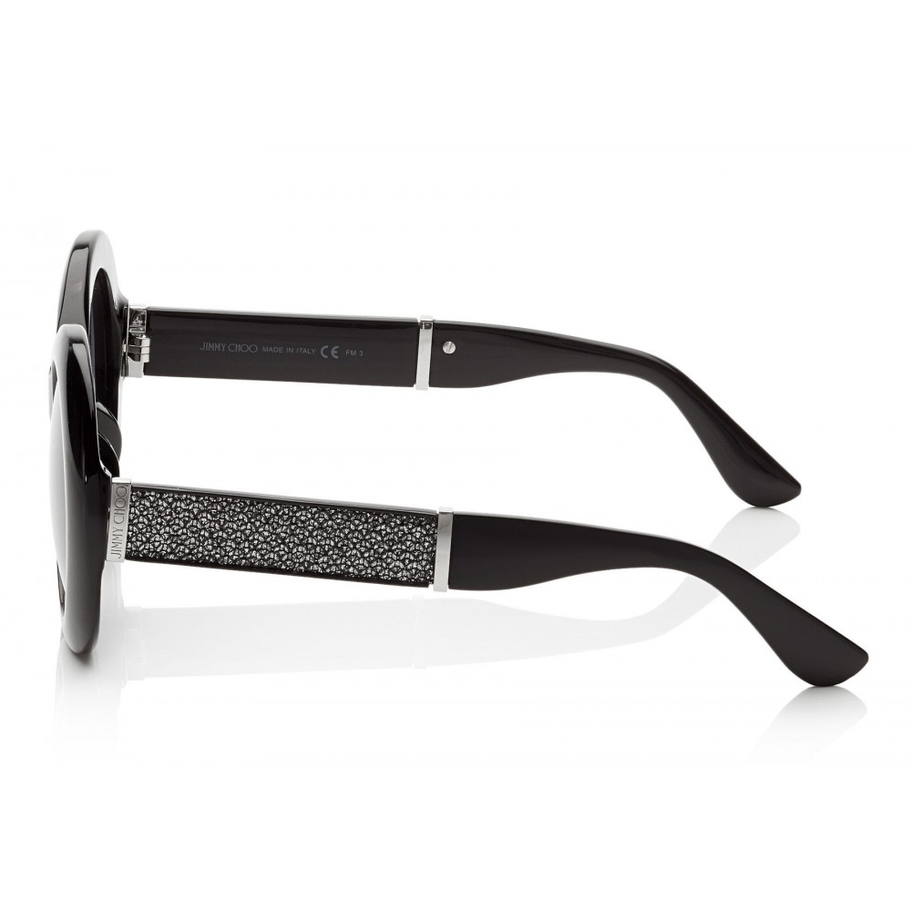 f837cc89fc3a ... Jimmy Choo - Wendy - Black Round Framed Sunglasses with Lurex Detailing  - Sunglasses - Jimmy ...