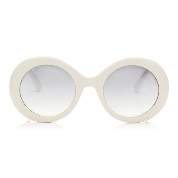 2fa0c327aa84 Jimmy Choo - Wendy - White Round Framed Sunglasses with Lurex Detailing -  Sunglasses - Jimmy