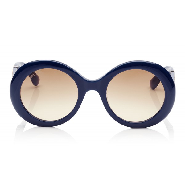 2a290c7c8f82 Jimmy Choo - Wendy - Blue Round Framed Sunglasses with Lurex Detailing -  Sunglasses - Jimmy