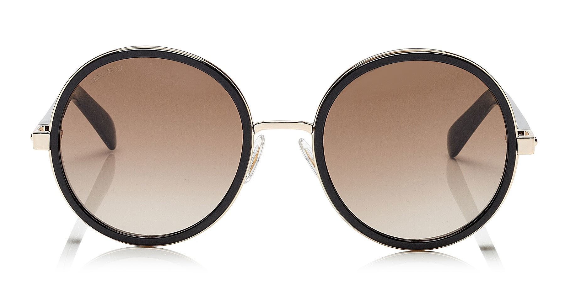 3c80d5479c Jimmy Choo - Andie - Rose Gold and Black Round Sunglasses with Gold and  Silver Fabric Detailing - Jimmy Choo Eyewear