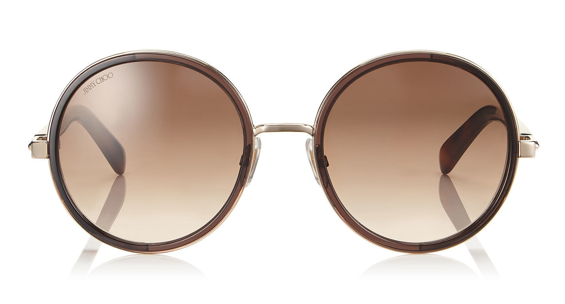 635095e23e58 Jimmy Choo - Andie - Havana Brown Acetate Round Framed Sunglasses with Gold  Silver Crystal Fabric Detailing - Jimmy Choo Eyewear