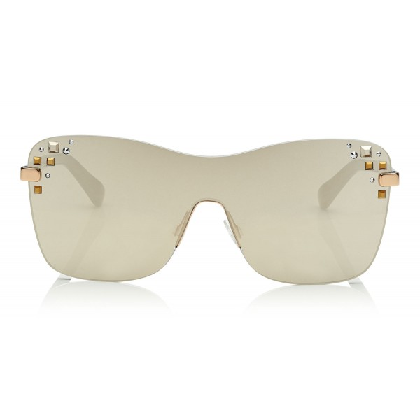 7835d17fd8ab Jimmy Choo - Mask - Rose Gold and Grey Round Frame Sunglasses with  Swarovski Crystals -