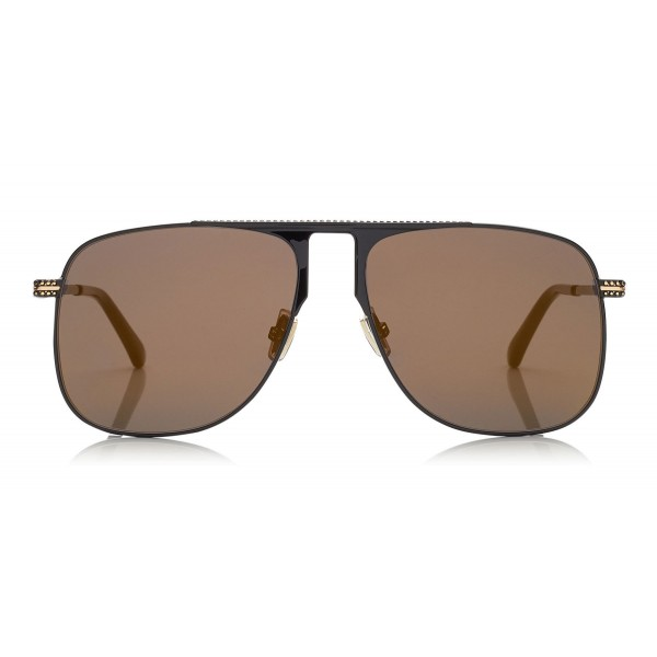 4fe9fe10421 Jimmy Choo - Dan - Black Square Frame Sunglasses with Gold Mirror Lenses -  Jimmy Choo