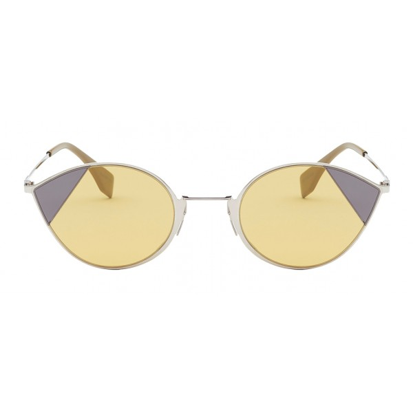 Fendi - Cut-Eye - Occhiali da Sole Cat-Eye Color Argento - Occhiali da Sole - Fendi Eyewear