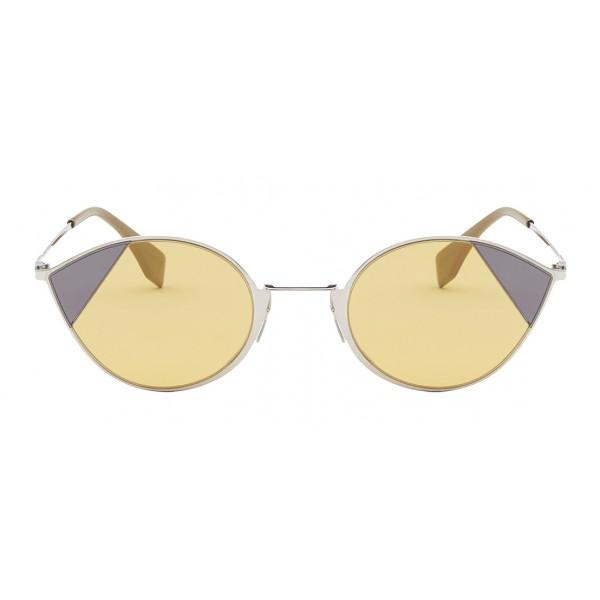 Fendi - Cut-Eye - Silver Cat-Eye Sunglasses - Sunglasses - Fendi Eyewear