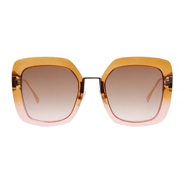 Fendi - Tropical Shine - Brown & Pink Oversize Sunglasses - Sunglasses - Fendi Eyewear