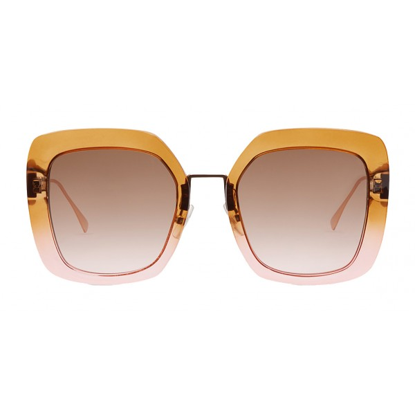 Fendi - Tropical Shine - Occhiali da Sole Oversize Marrone e Rosa - Occhiali da Sole - Fendi Eyewear