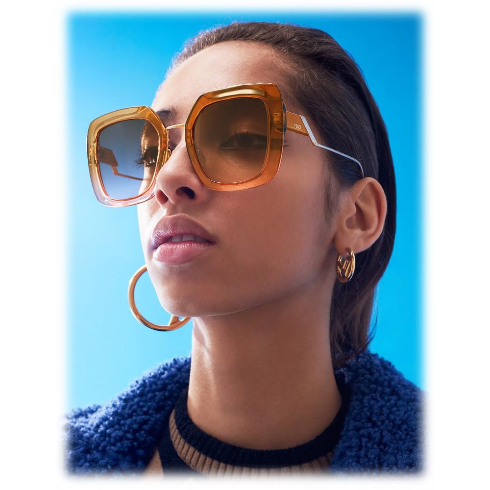 7d962540 Fendi - Tropical Shine - Brown & Pink Oversize Sunglasses ...