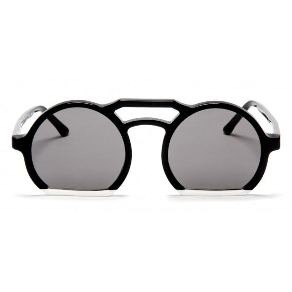 011 Eyewear - Groove - 008 - Black Acetate Round Framed Sunglasses - Sunglasses - 011 Eyewear