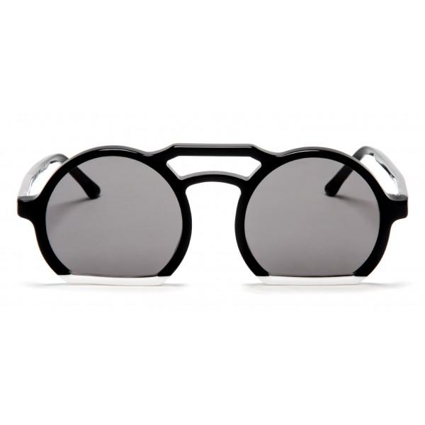 011 Eyewear - Groove - 008 - Occhiali da Sole Rotondi in Acetato Nero - Occhiali da Sole - 011 Eyewear