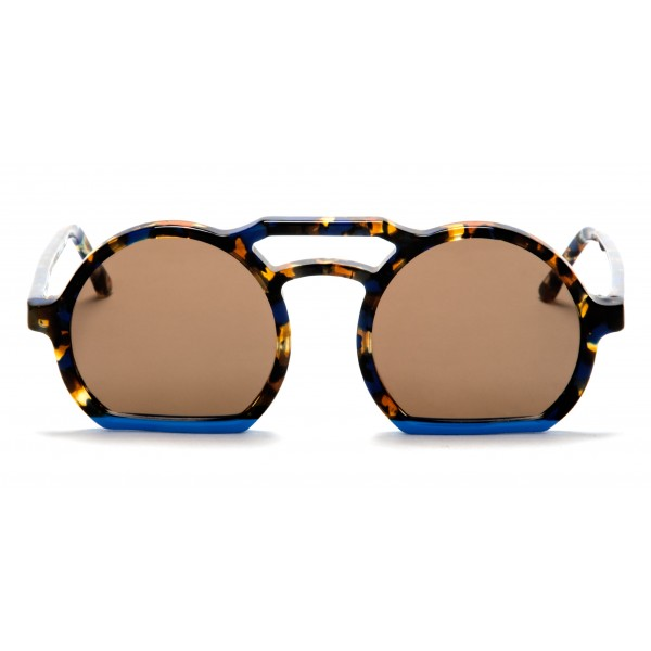 011 Eyewear - Groove - 004 - Occhiali da Sole Rotondi in Acetato Havana - Occhiali da Sole - 011 Eyewear