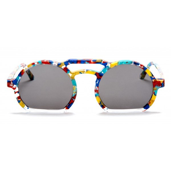 011 Eyewear - Groove - 002 - Multicolor Acetate Round Framed Sunglasses - Sunglasses - 011 Eyewear