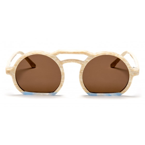 011 Eyewear - Groove - 010 - Sand Acetate Round Framed Sunglasses - Sunglasses - 011 Eyewear