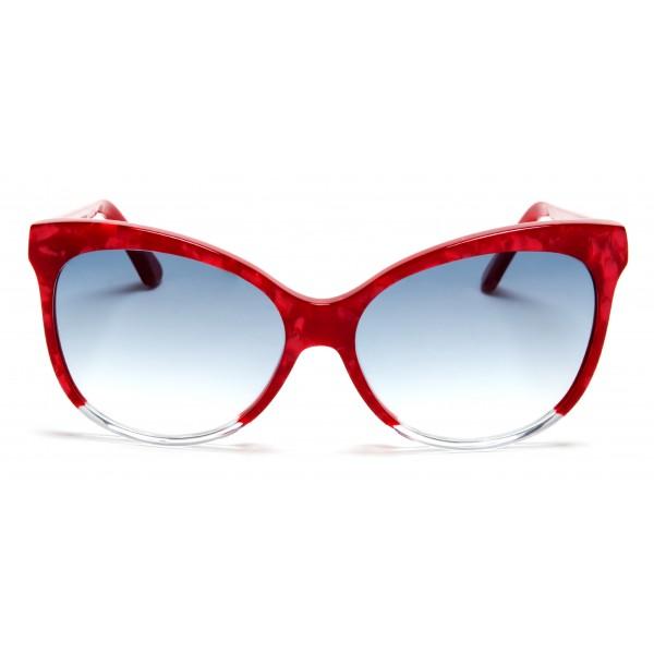 011 Eyewear - Iris - A1 - Occhiali da Sole Cat Eye in Acetato Rosso - Occhiali da Sole - 011 Eyewear
