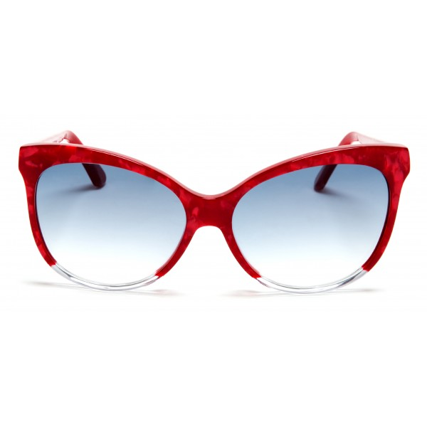 011 Eyewear - Iris - A1 - Red Acetate Cat Eye Framed Sunglasses - Sunglasses - 011 Eyewear