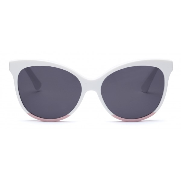 011 Eyewear - Iris - E1 - White Acetate Cat Eye Framed Sunglasses - Sunglasses - 011 Eyewear