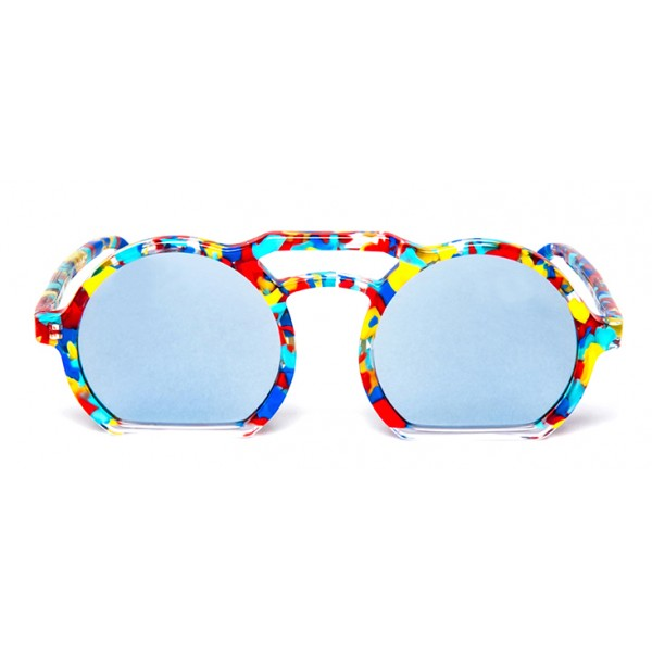 011 Eyewear - Groove X Tipic - B01 - Multicolor Acetate Round Framed Sunglasses - Sunglasses - 011 Eyewear