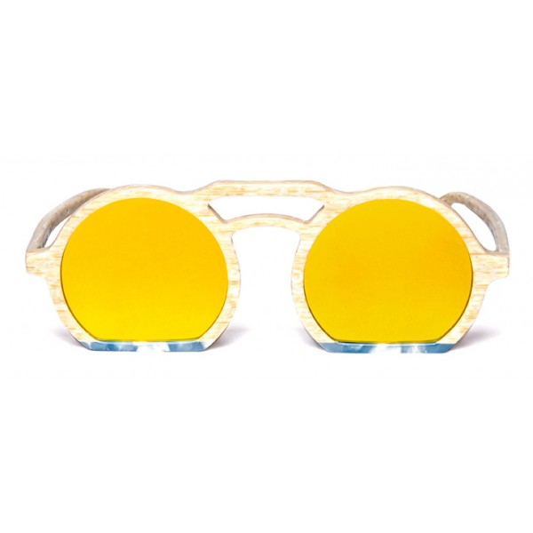011 Eyewear - Groove X Tipic - B02 - Occhiali da Sole Rotondi in Acetato Sabbia - Occhiali da Sole - 011 Eyewear
