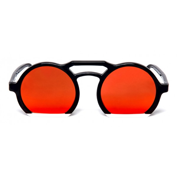 011 Eyewear - Groove X Tipic - C01 - Occhiali da Sole Rotondi in Acetato Nero - Occhiali da Sole - 011 Eyewear