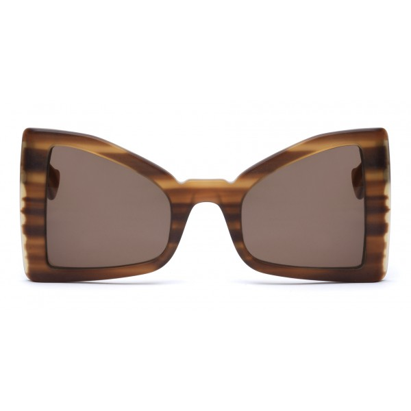 011 Eyewear - Lullaby - 03 - Brown Acetate Cat Eye Framed Sunglasses - Sunglasses - 011 Eyewear