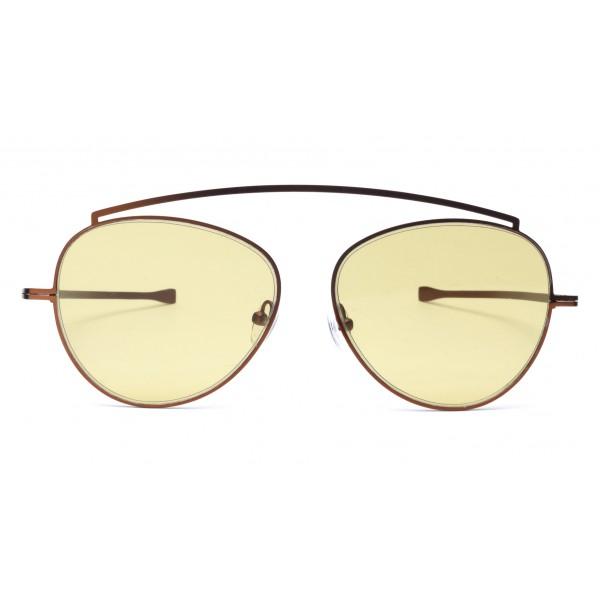 011 Eyewear - Soul - 02 - Occhiali da Sole Rotondi in Metallo Giallo - Occhiali da Sole - 011 Eyewear