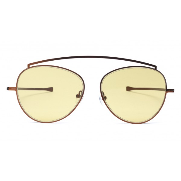 011 Eyewear - Soul - 02 - Yellow Metal Round Framed Sunglasses - Sunglasses - 011 Eyewear