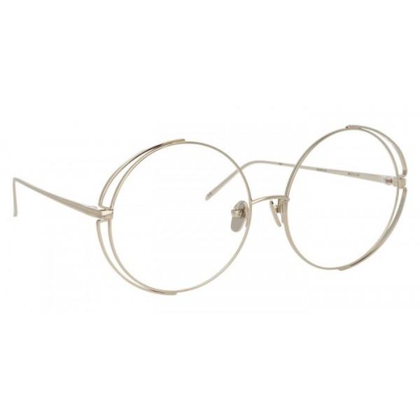 Linda Farrow - 816 C10 Round Optical Frames - White Gold - Linda Farrow Eyewear